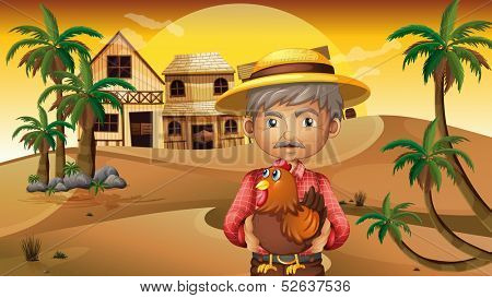 Illustration of an old man and his rooster at the desert