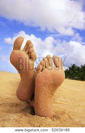 Sandy feet on a tropical beach with blue sky poster