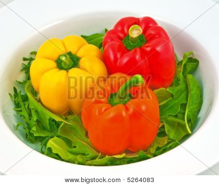Bell Peppers On Green Salad
