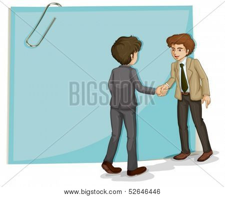 Illustration of the two businessmen in front of the empty template on a white background
