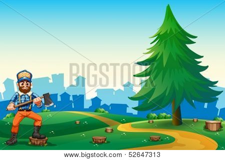 Illustration of a hilltop with a hardworking woodman holding an axe