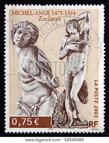 Postage Stamp France 2003 Slaves, Sculptures By Michelangelo