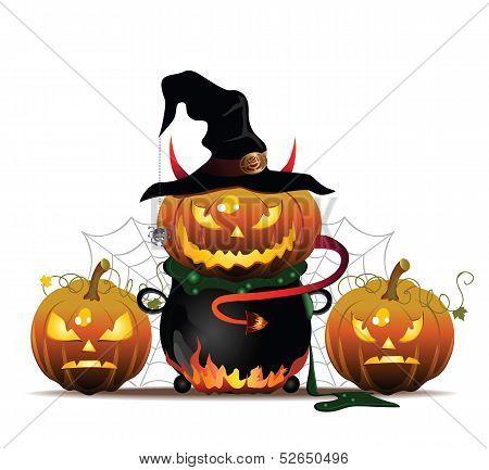 Pumpkin in Pot with Web