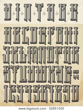 Vintage style font- big letters and numbers