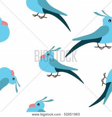 Blue bird seamless pattern