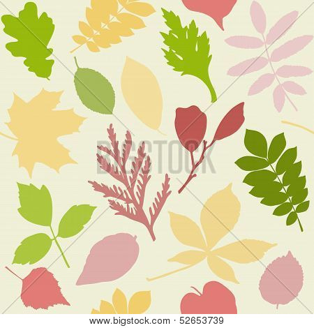 Seamless pattern with leaves silhouettes