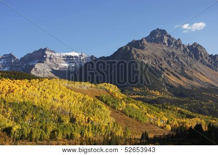 Mount Sneffels Range with fall color, Colorado, USA poster