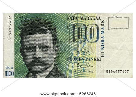 Hundred Finnish Marks Note
