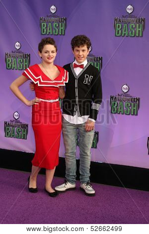 LOS ANGELES - OCT 20:  Joey King, Nolan Gould at the Hub Network First Annual Halloween Bash at Barker Hanger on October 20, 2013 in Santa Monica, CA