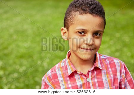 Closeup portrait of mulatto boy in red checkered shirt