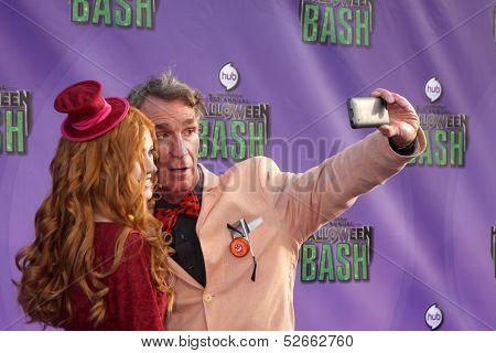 LOS ANGELES - OCT 20:  Katherine McNamara, Bill Nye at the Hub Network First Annual Halloween Bash at Barker Hanger on October 20, 2013 in Santa Monica, CA