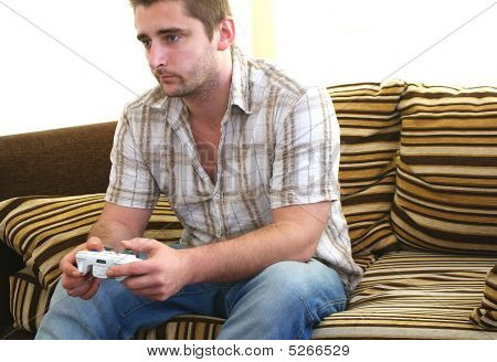 A Young Man Playing Computer Game