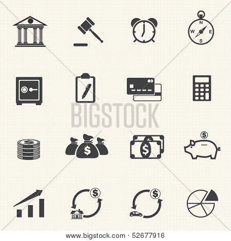 Finance Icons with texture background