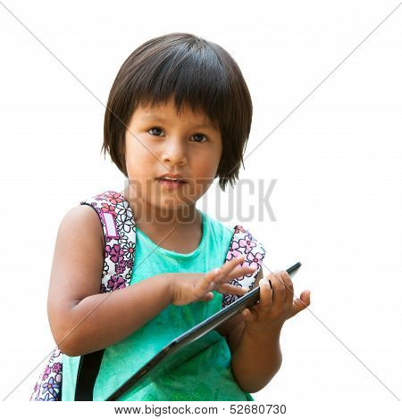Cute Native American Girl With Tablet.