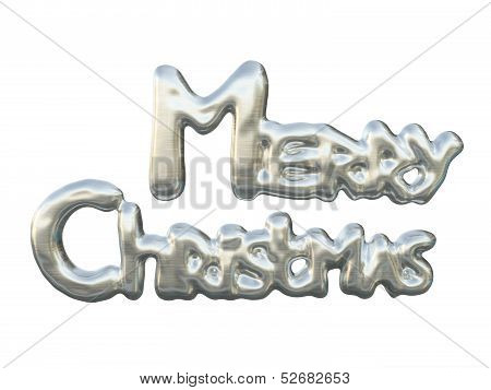Shining Silver Lettering Merry Christmas Isolated On White Background