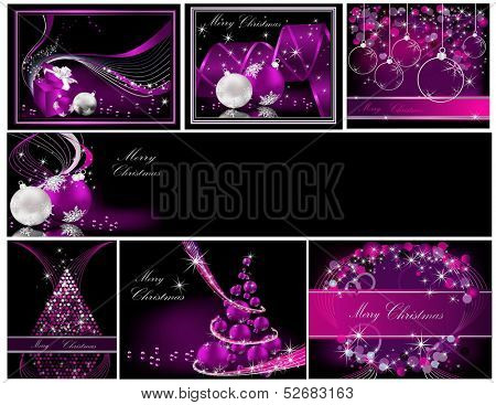 Merry Christmas background collections silver and violet