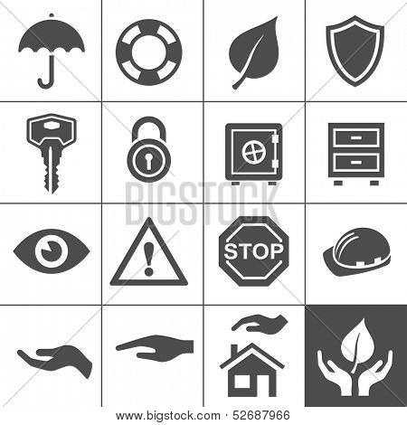 Protection icons. Simplus series. Vector Illustration