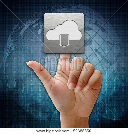 In Press Cloud Download  Icon On Global Background