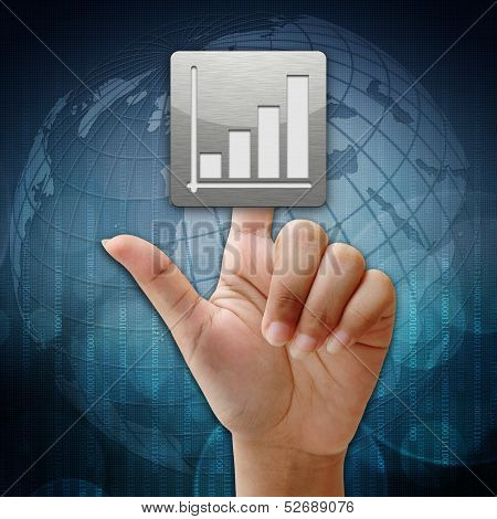 In Press Business Graph Icon On Global Background