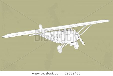 vintage styled illustration of a small plane