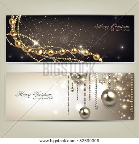 Elegante Christmas Banner mit goldenen Kugeln und Sternen. Vektor-illustration