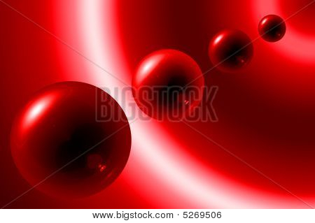 Red Spheres With Shadow Background