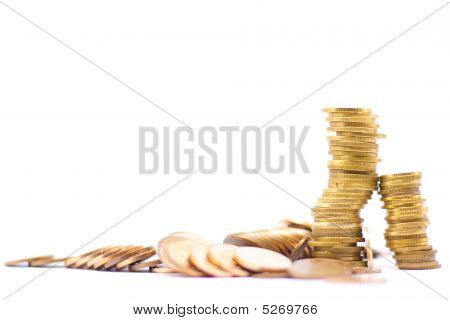 Stack Of Fallen Coins