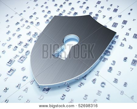 Privacy concept: Silver Shield With Keyhole on digital backgroun