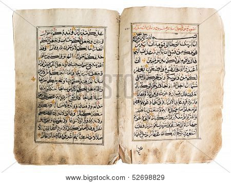 Old Quran Book Over White Background