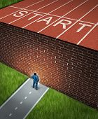 New job challenges concept with a business and financial obstacles metaphor as a businessman standing in front of a large brick wall that has blocked his track and field path obstructing a journey to success. poster