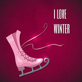 Retro Christmas card with ice skates. This is file of EPS10 format. poster
