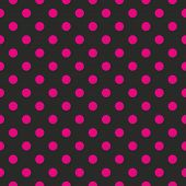 Seamless vector pattern or texture with neon pink polka dots on black background. For cards, invitations, websites, desktop, baby shower card background, party, web design, arts and scrapbooks. poster