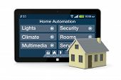 one house and tablet pc with a software for home automation (3d render) poster