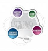 total quality management cycle diagram concept illustration design poster