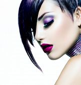Halloween Woman Make up. Fashion Beauty Vampire Girl. Gorgeous Woman Portrait. Stylish Fringe Haircut and Makeup. Hairstyle. Vogue Style. Sexy Glamour Punk Girl with White Skin and Dark Makeup poster