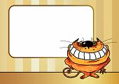 Cartoon illustration of a smiling cat with blank textframe. poster