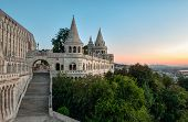 south gate of Fisherman's Bastion in Budapest at sunrise poster