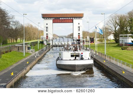 Lock Gates And Channels With Boat