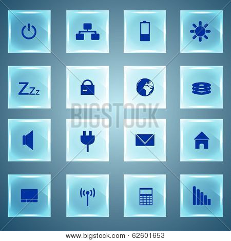 laptop and PC icons glass buttons eps10