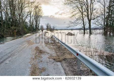 Road With Debris Left After The Flood