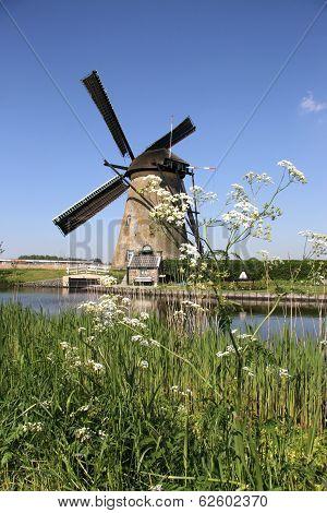 Traditional Dutch windmills near Kinderdijk, The Netherlands