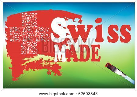 text  Swiss made (make in switzerland), and white cross  with Swiss icons make poster