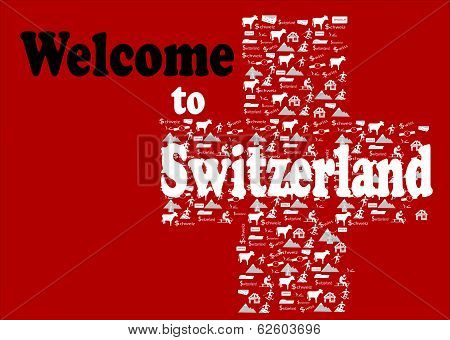 Red Background with text Welcome to switzerland, and white cross  with Swiss icons make, (alp, watch, chesse, chocolat,money, bank, etc) poster