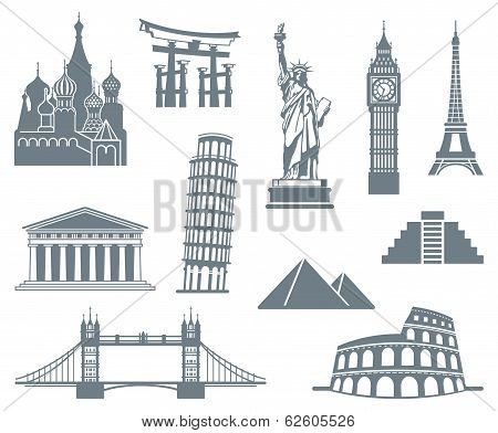 A set of world landmark icons on a white background poster