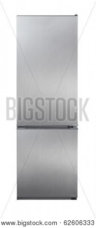 Two door stainless steel refrigerator isolated on white poster