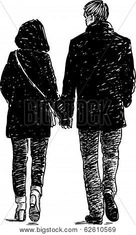 Vector drawing of the young people on a romantic stroll.