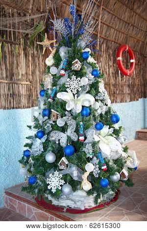 Caribbean New Year Tree With Balls And Toys