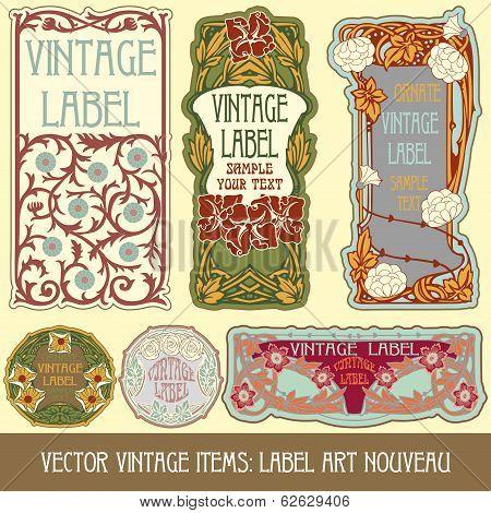 poster of Vector vintage items: label art nouveau, illustration