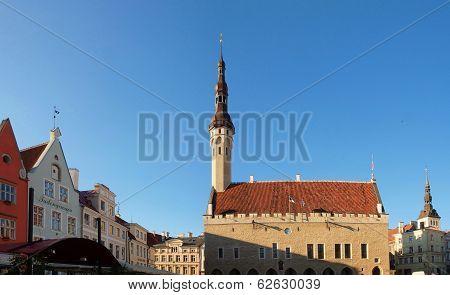Evening Summer Scenery Of The Town Hall Square (raekoja Plats) In Tallinn, Estonia