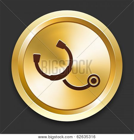 Stethoscope Icons on Gold Button Collection